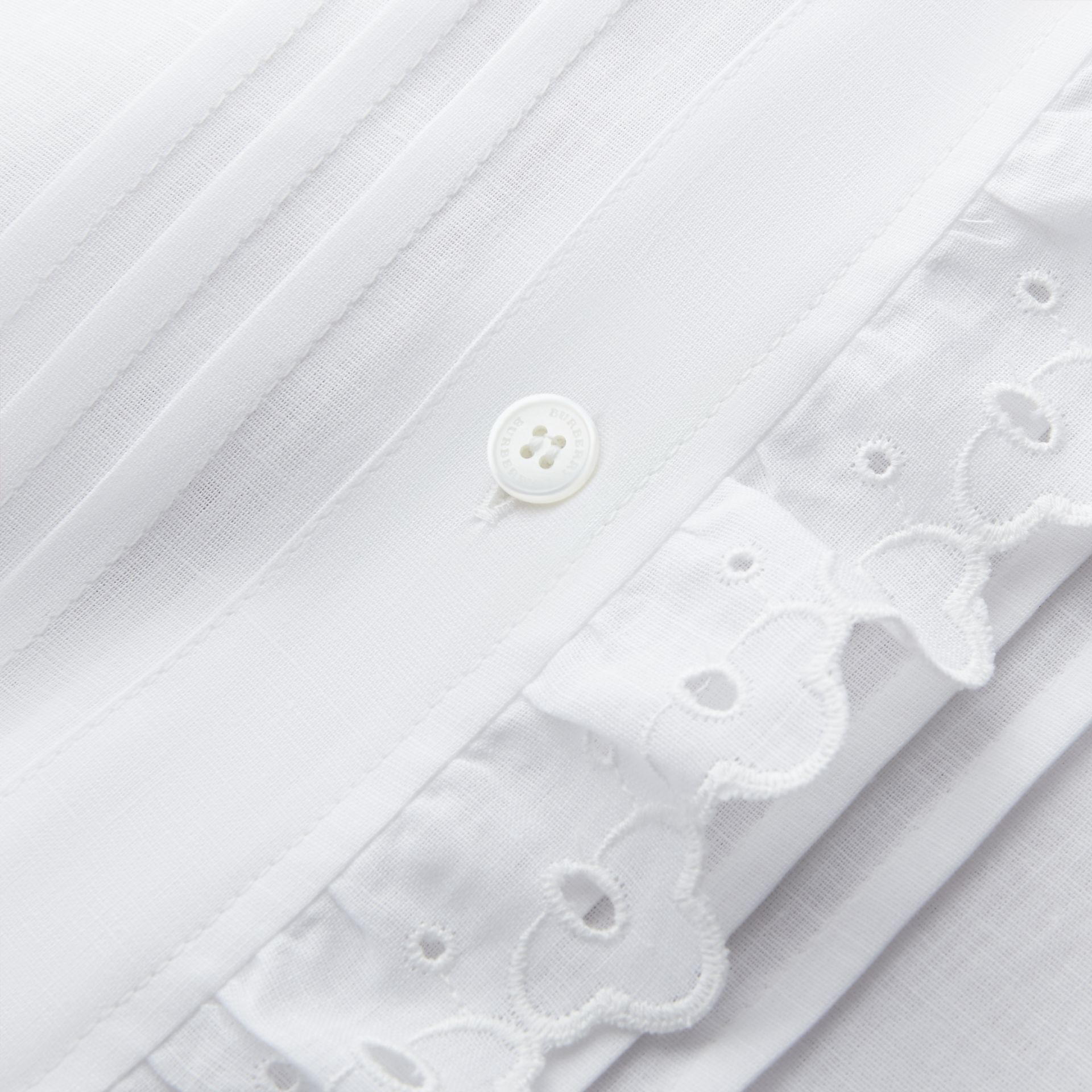 Broderie Anglaise Detail Linen Cotton Shirt - Women | Burberry - gallery image 2