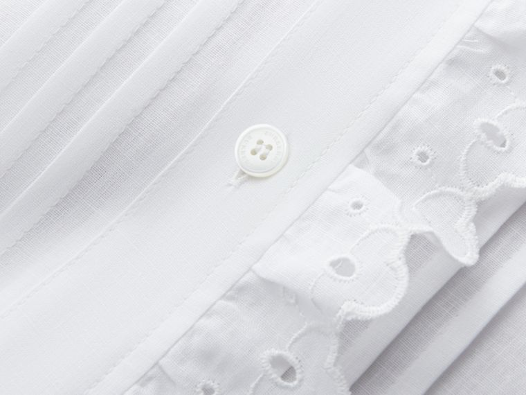 Broderie Anglaise Detail Linen Cotton Shirt - Women | Burberry - cell image 1