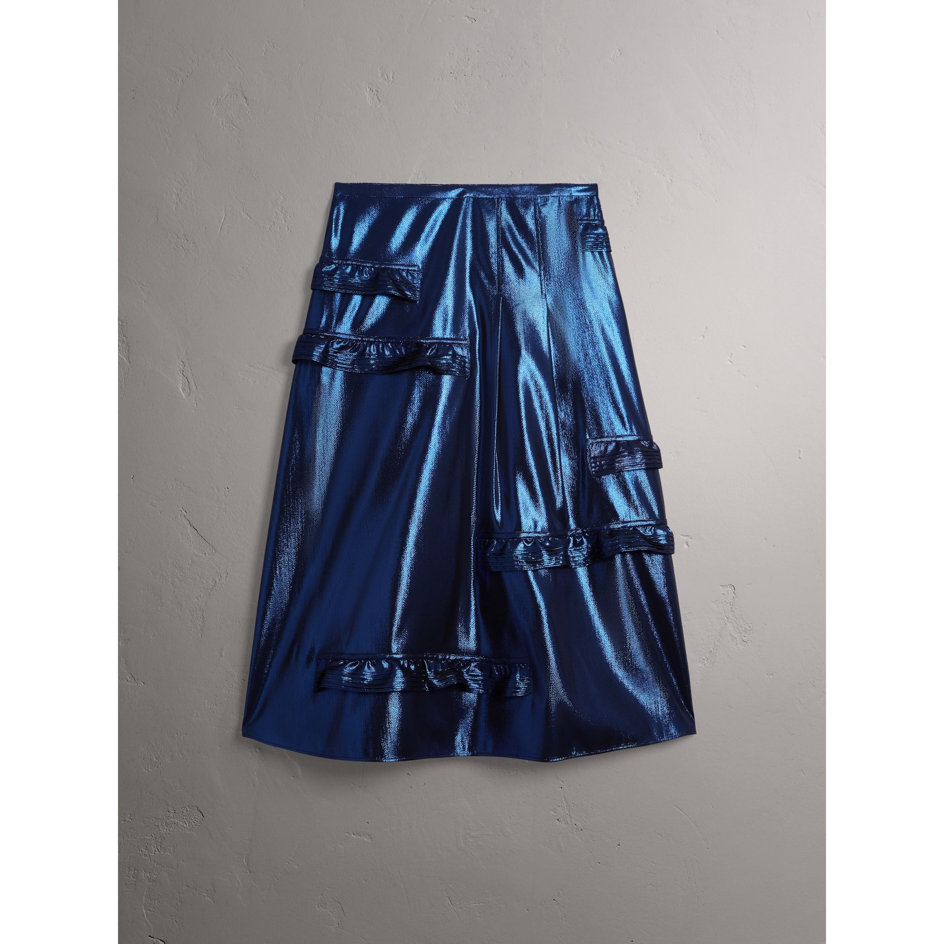 Ruffle Detail Lamé Skirt in Bright Navy - Women | Burberry - gallery image 3