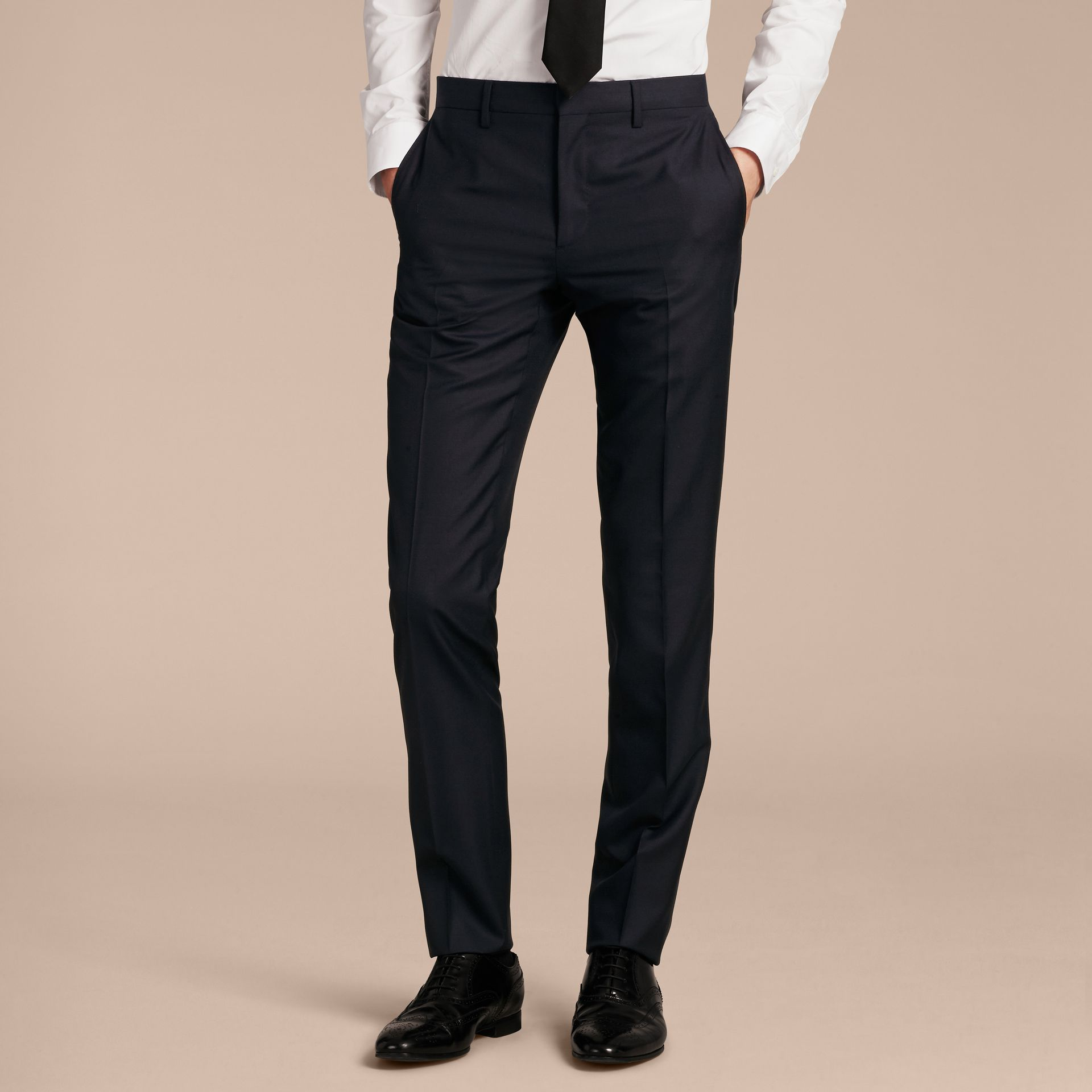 Slim Fit Wool Trousers in Navy - Men | Burberry - gallery image 5
