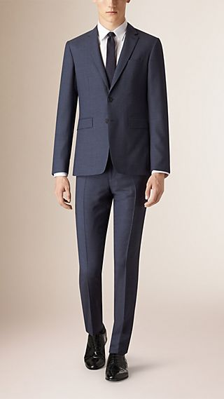 Slim Fit Travel Tailoring Check Wool Suit