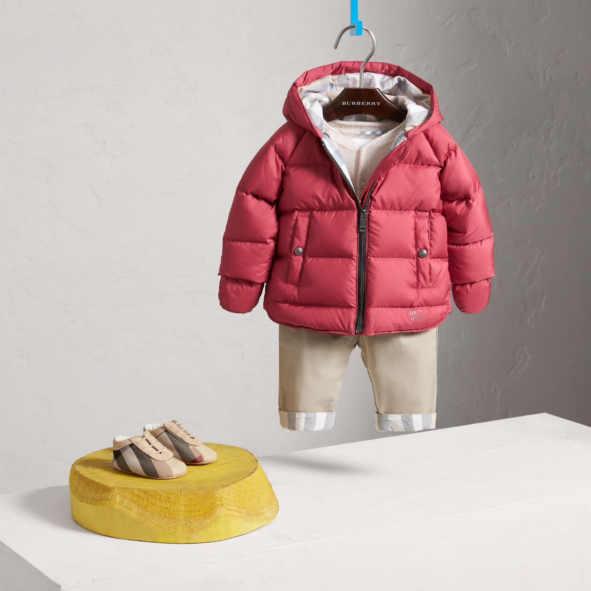 Hooded Down-filled Puffer Jacket with Mittens in Peony Rose | Burberry United States - gallery image 1