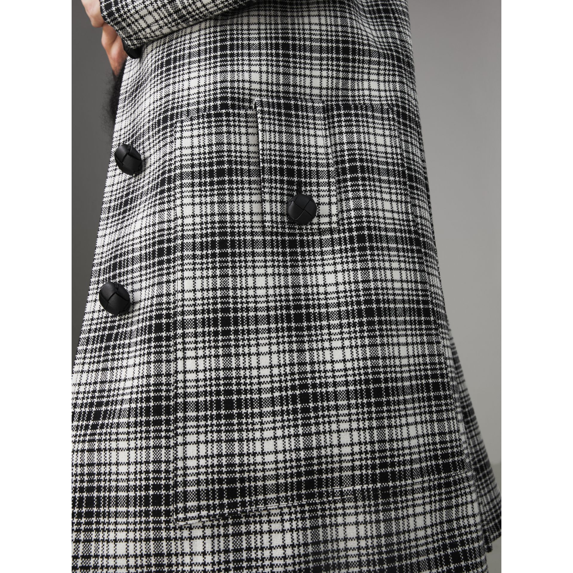 Check Wool Tailored Coat in Black/white - Women | Burberry Australia - gallery image 5