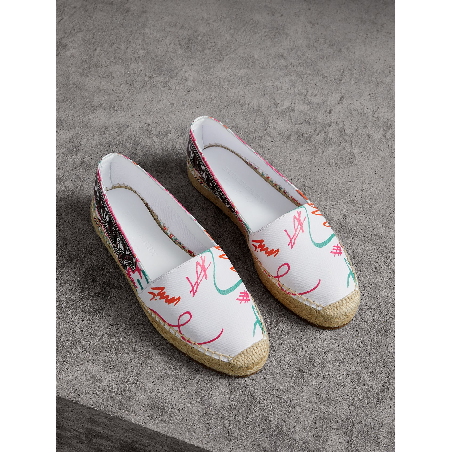 Doodle Print Coated Cotton Espadrilles in Optic White - Women | Burberry - gallery image 0