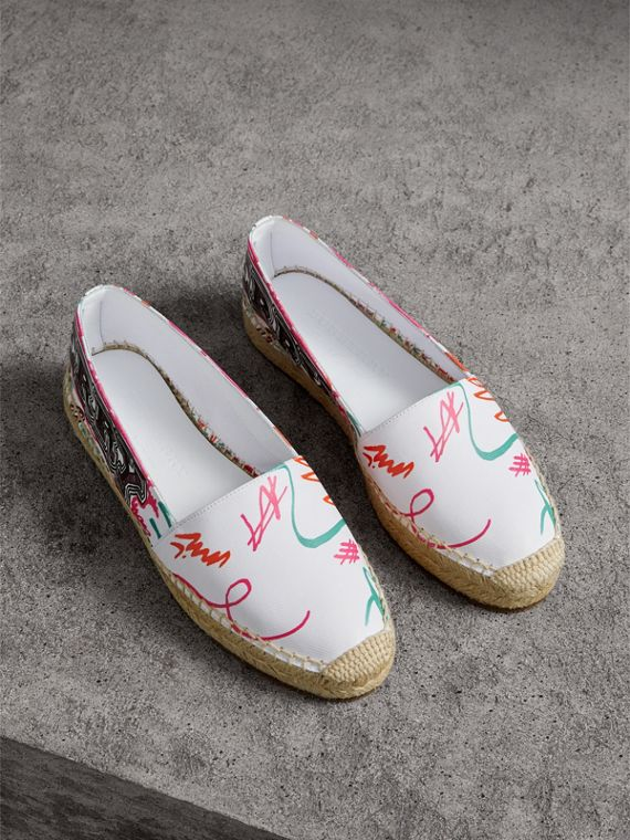Doodle Print Coated Cotton Espadrilles in Optic White