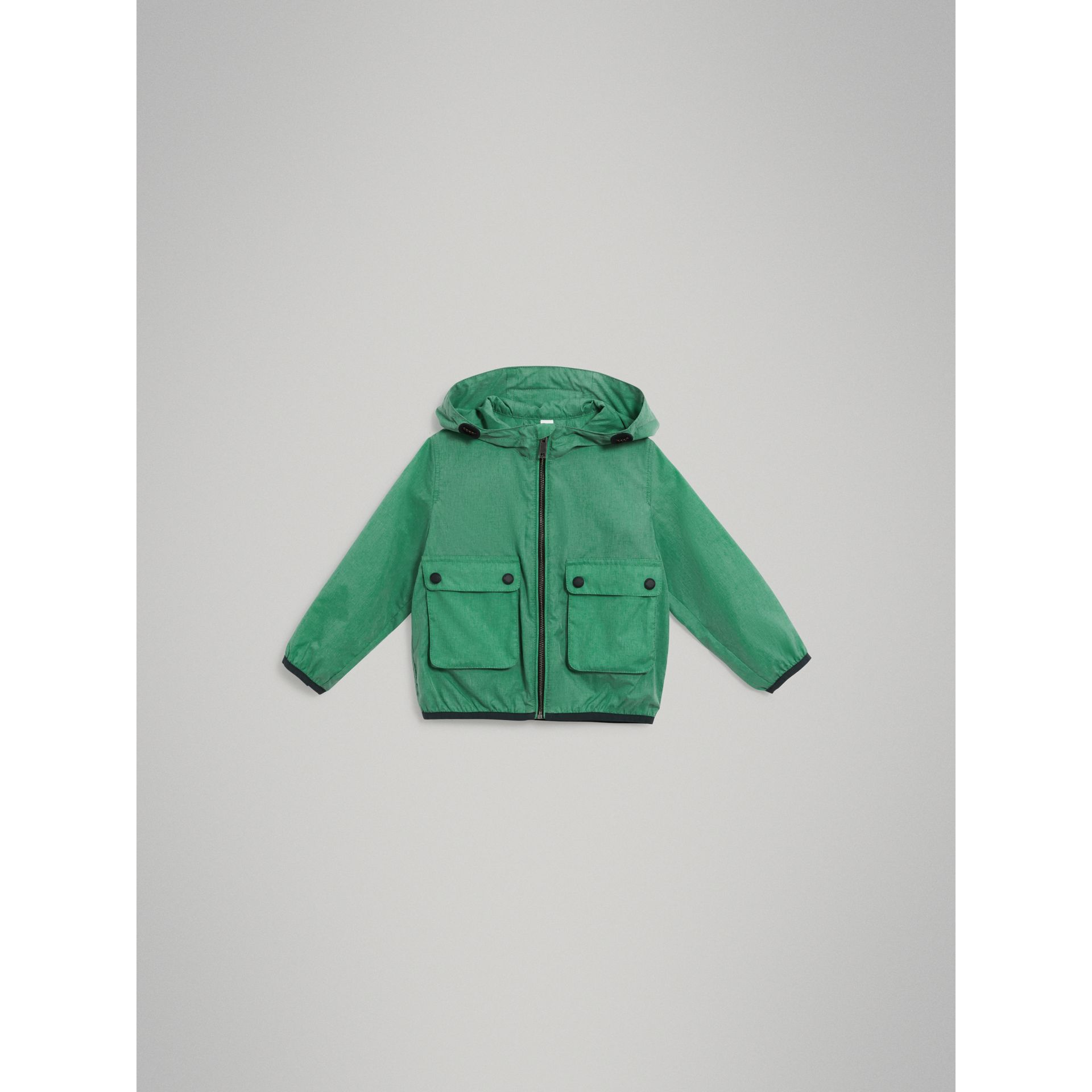 Showerproof Hooded Jacket in Vibrant Green - Boy | Burberry United States - gallery image 2