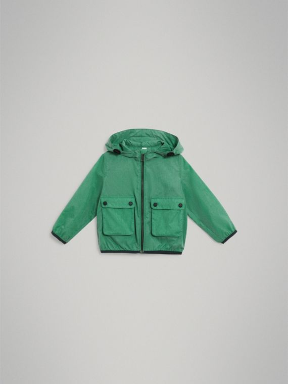 Showerproof Hooded Jacket in Vibrant Green - Boy | Burberry United States - cell image 2