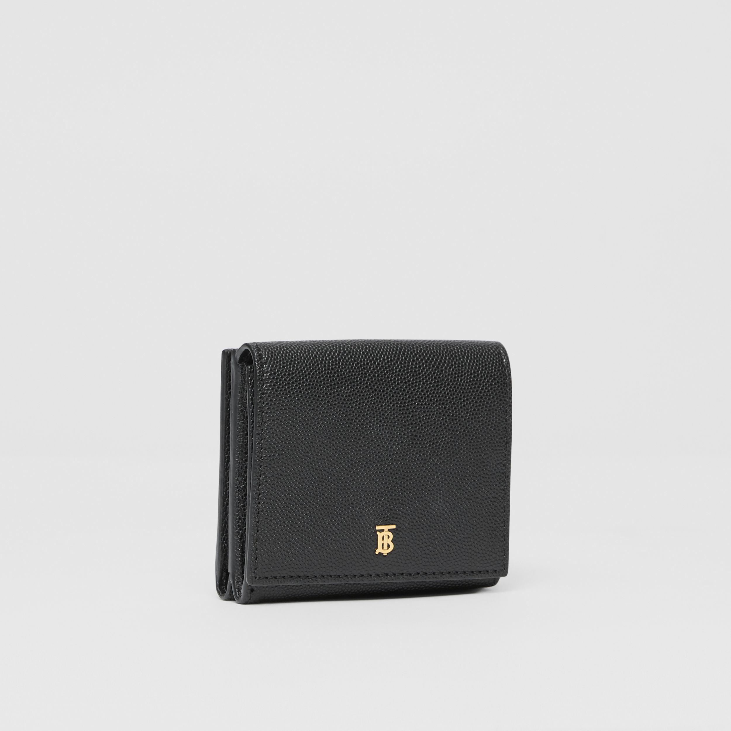 Monogram Motif Grainy Leather Folding Wallet in Black - Women | Burberry - 3