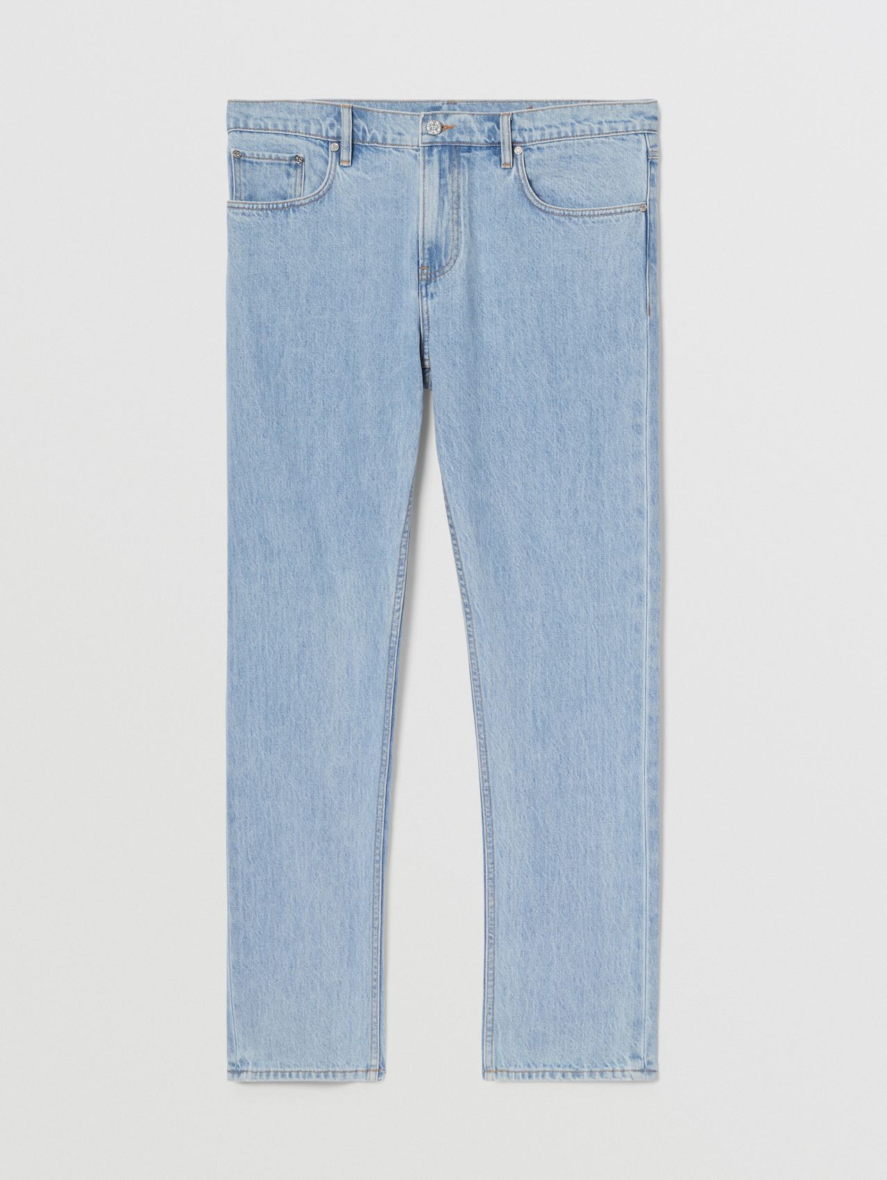 Straight Fit Washed Denim Jeans in Pale Blue