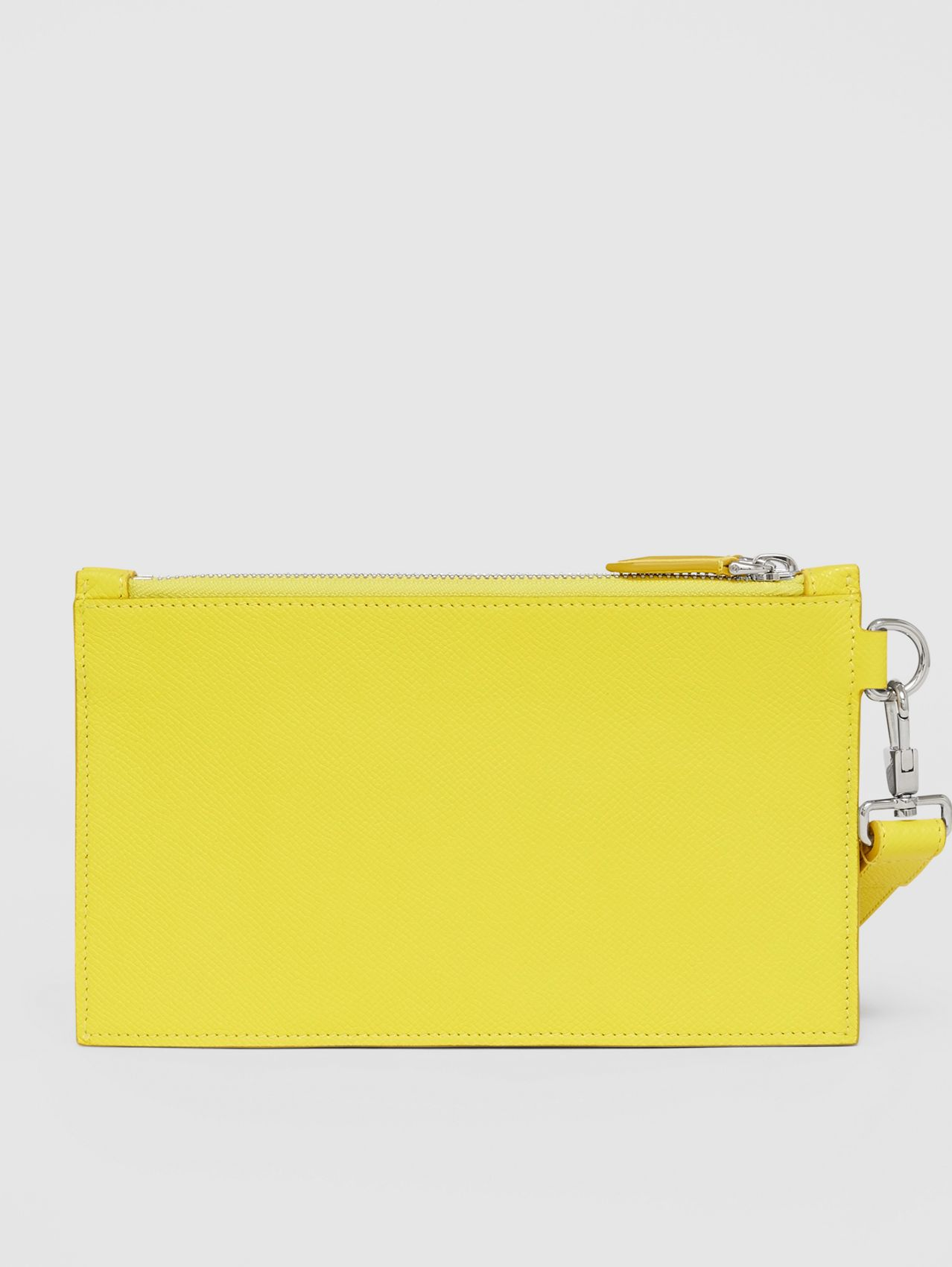 Icon Stripe Print Grainy Leather Zip Pouch in Marigold Yellow