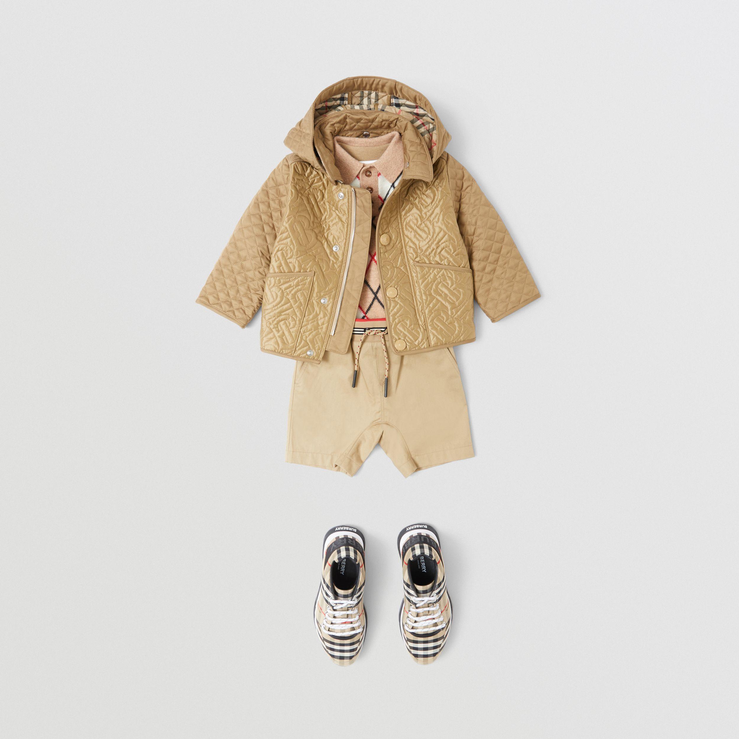 Detachable Hood Monogram Quilted Jacket in Honey - Children | Burberry - 3