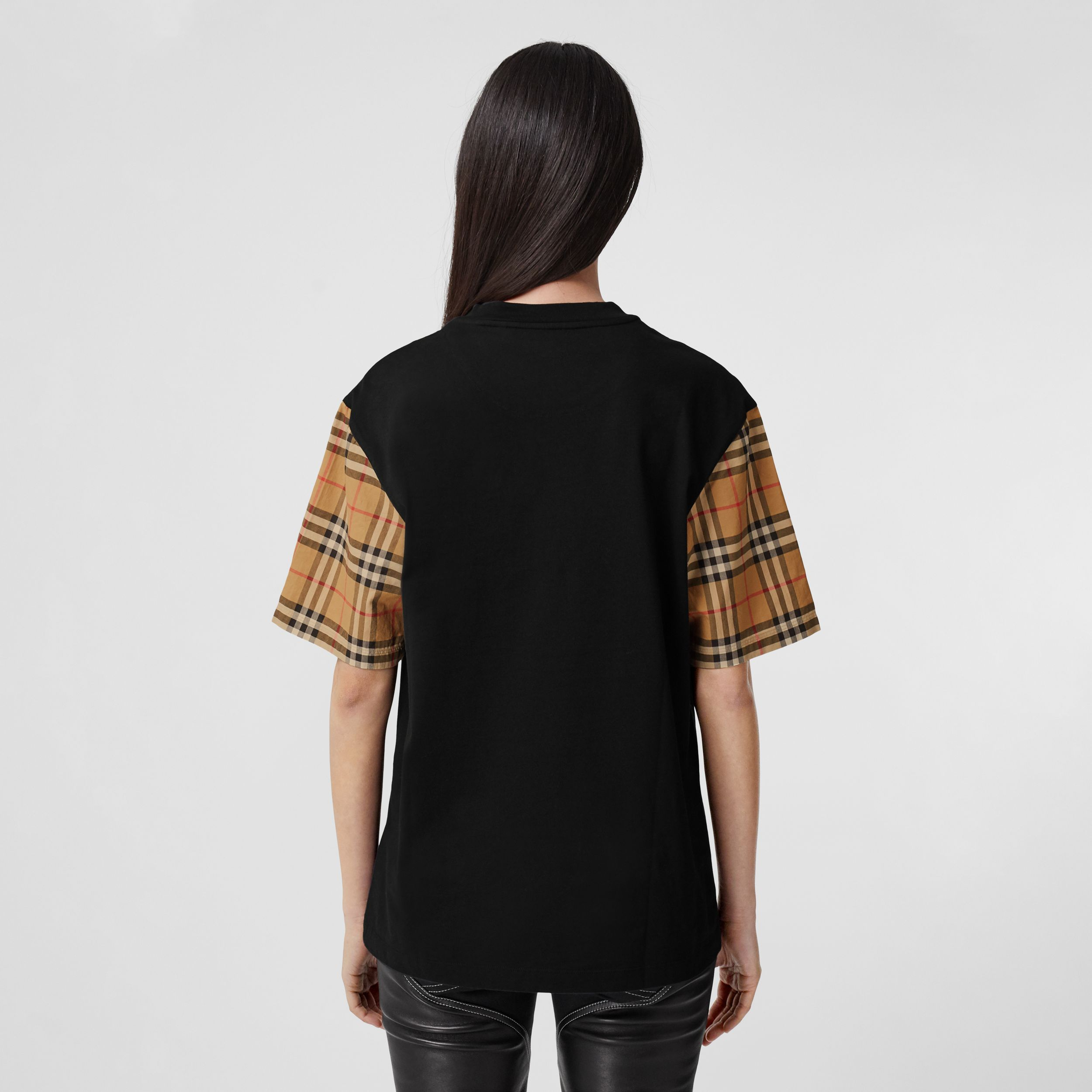 Vintage Check Sleeve Cotton T-shirt in Black - Women | Burberry - 3