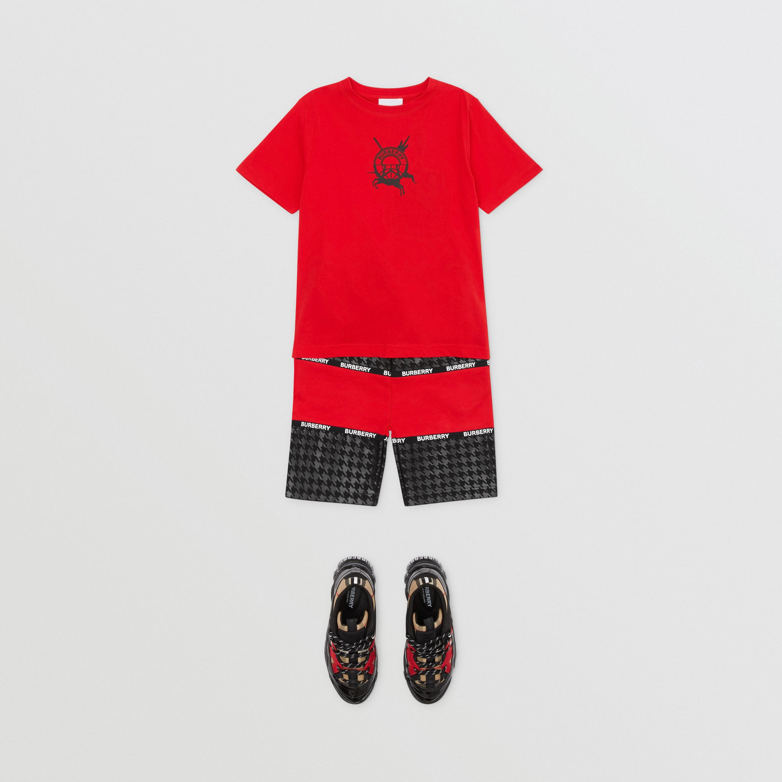 Logo Graphic Print Cotton T-shirt in Bright Red | Burberry - 3