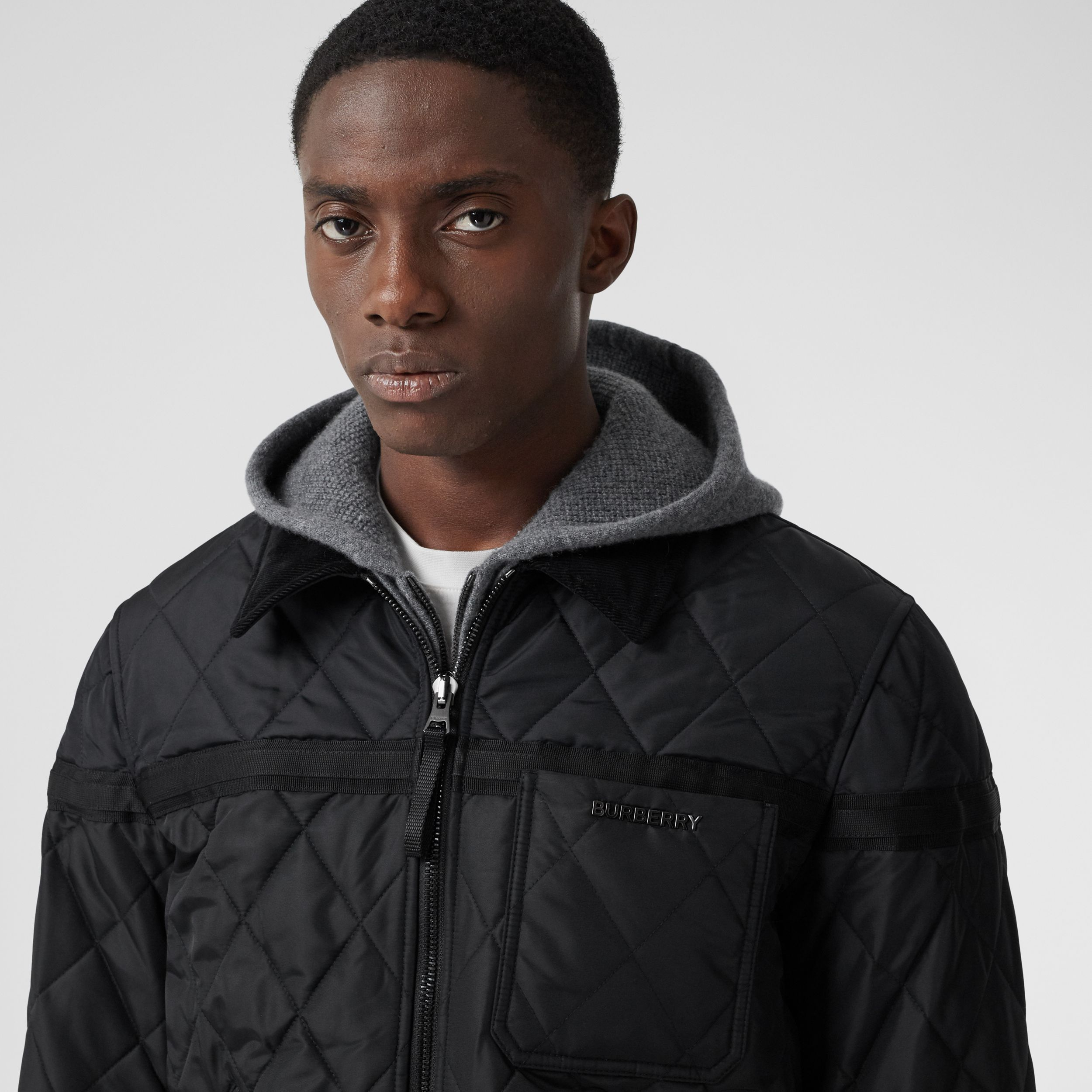 Corduroy Collar Diamond Quilted Jacket in Black - Men | Burberry - 2