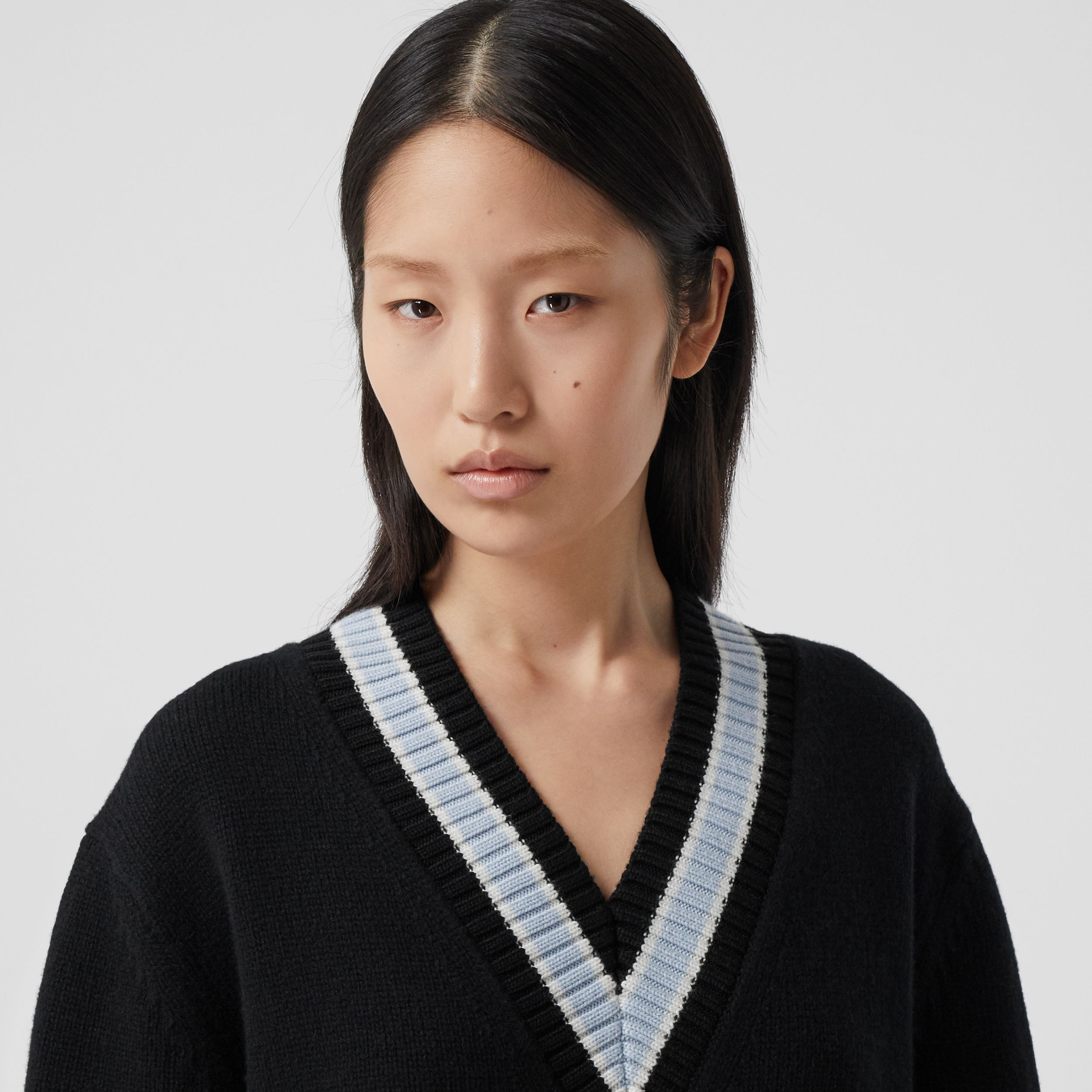 Wool Oversized Cricket Sweater in Black - Women | Burberry - 2