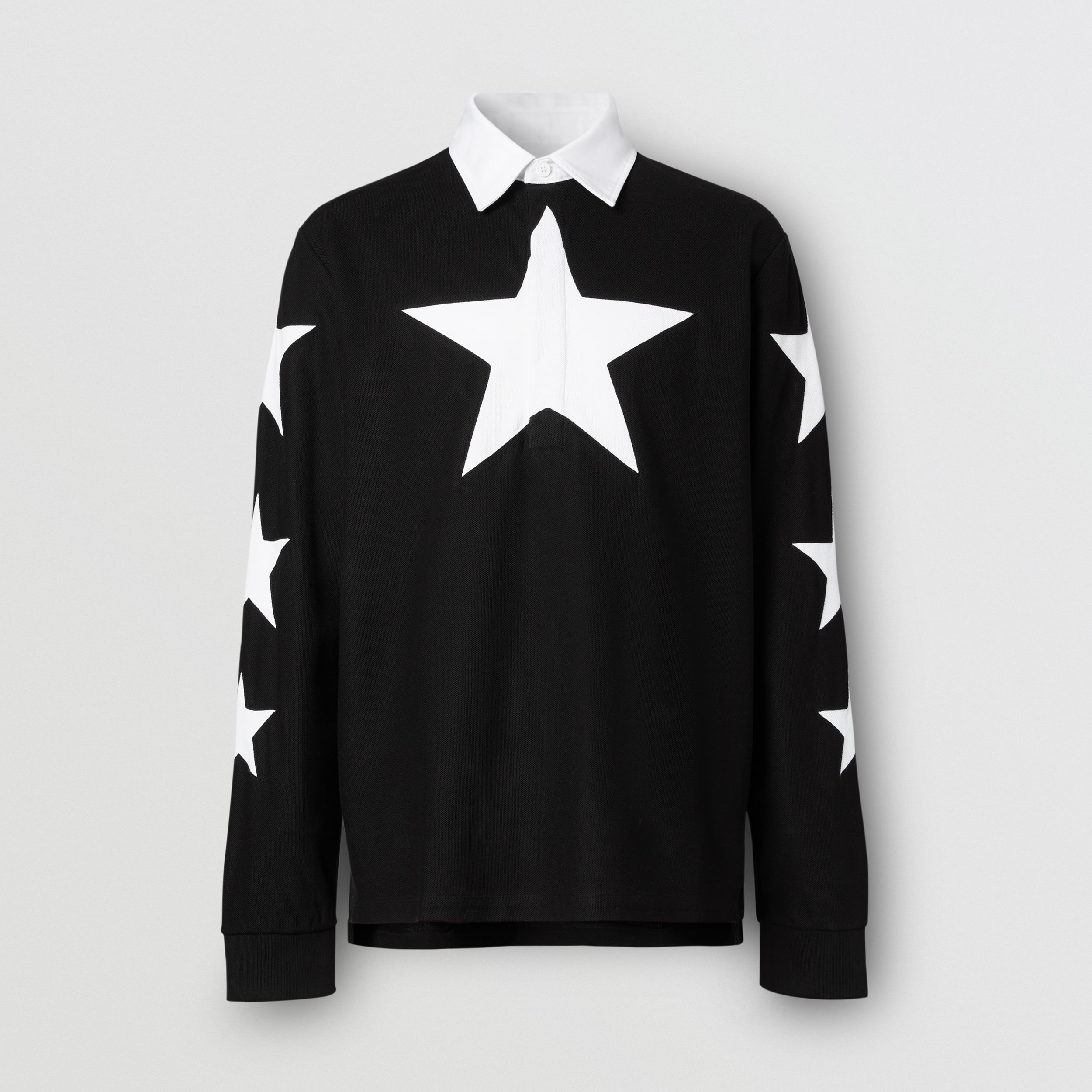 Long-sleeve Star Motif Cotton Piqué Polo Shirt in Black - Men | Burberry - 4