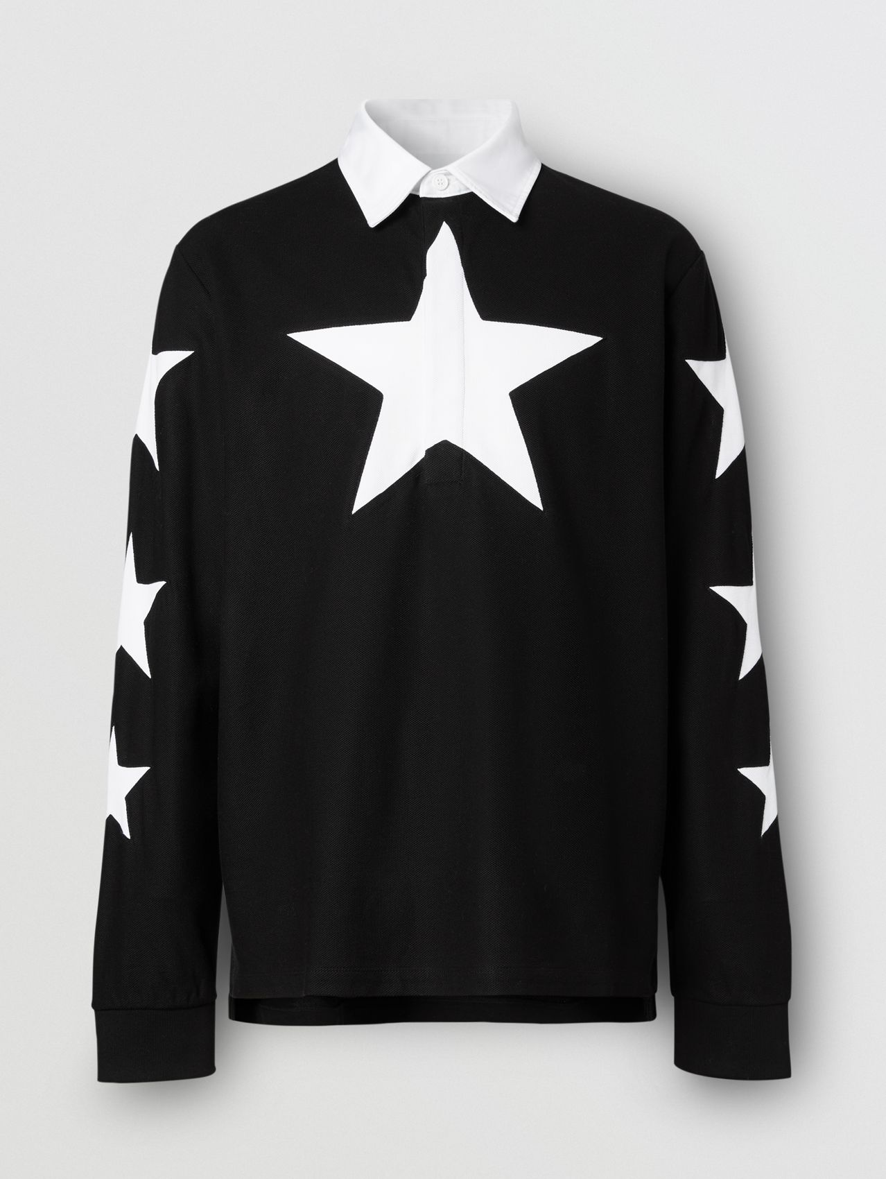 Long-sleeve Star Motif Cotton Piqué Polo Shirt in Black