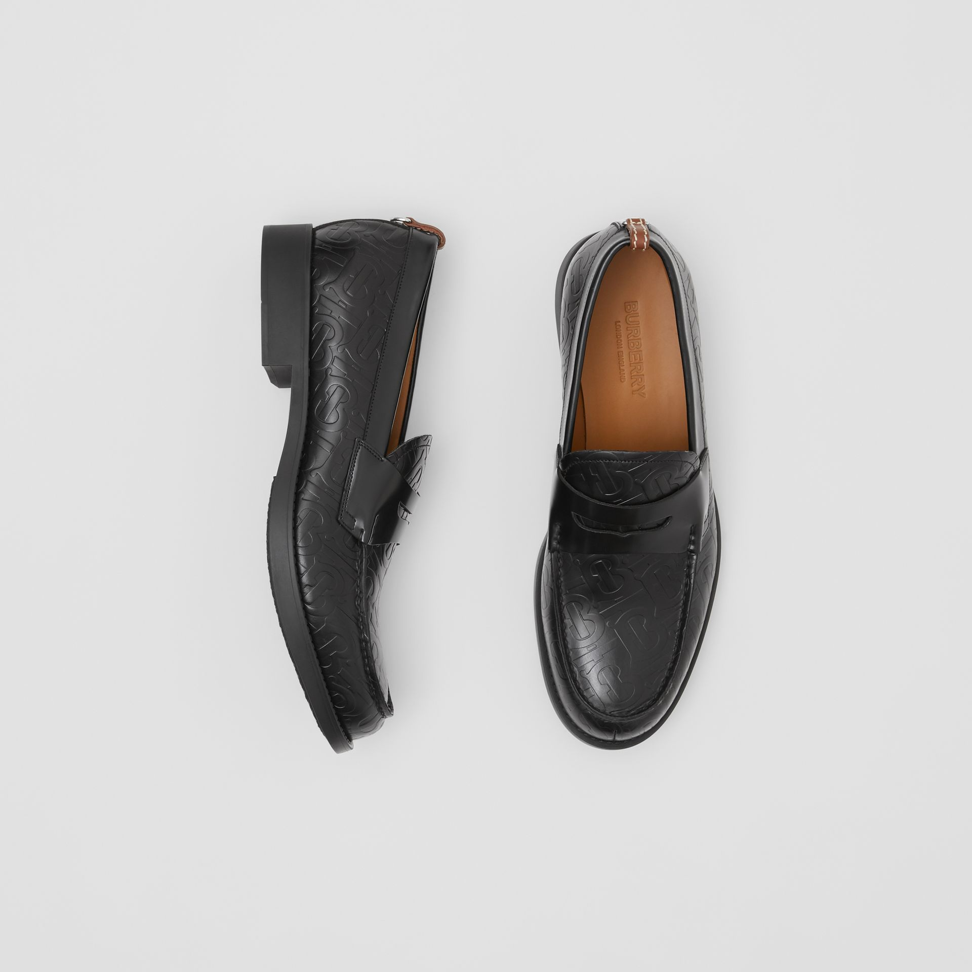 D-ring Detail Monogram Leather Loafers in Black - Men | Burberry - gallery image 0