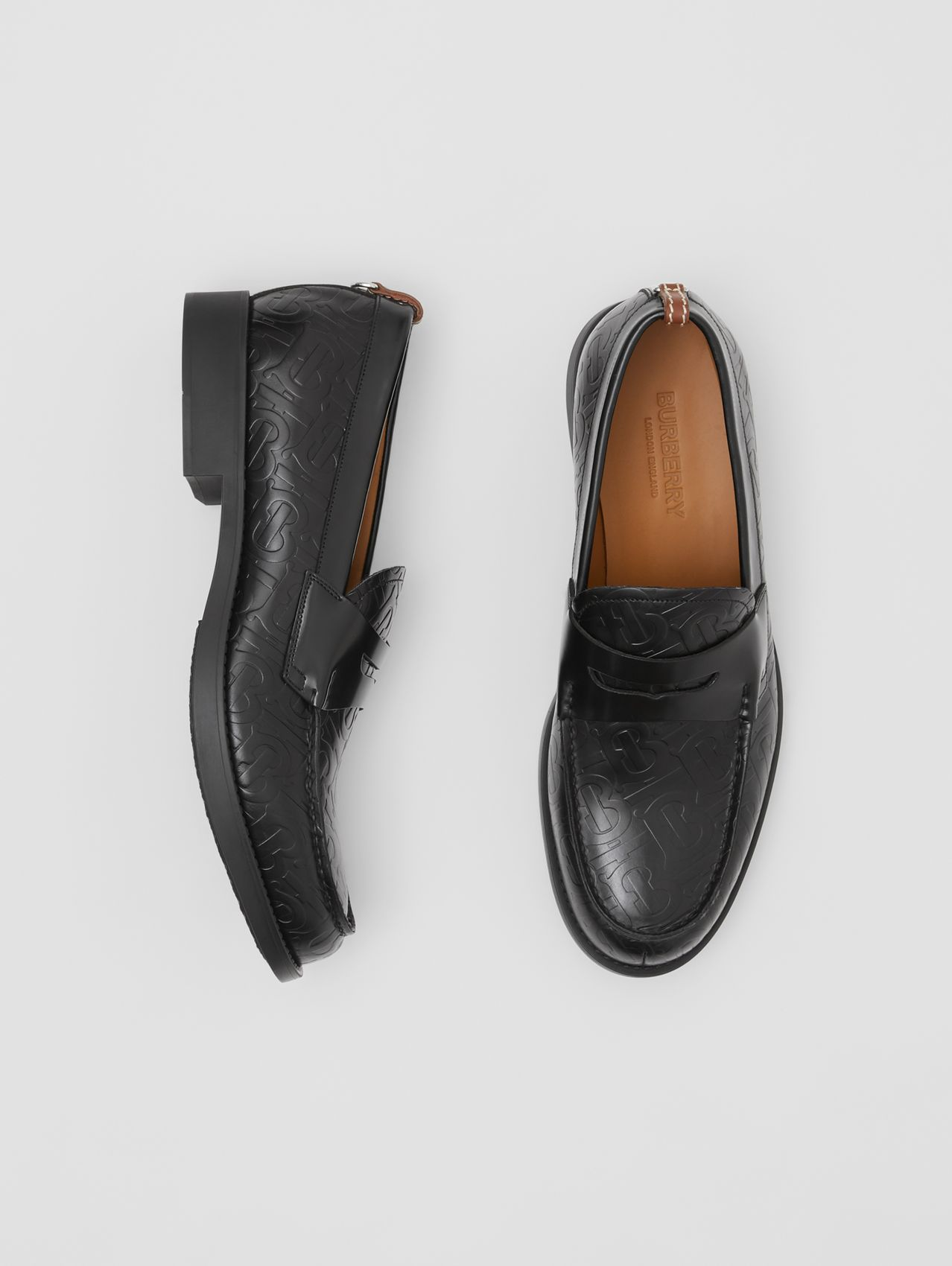 D-ring Detail Monogram Leather Loafers in Black