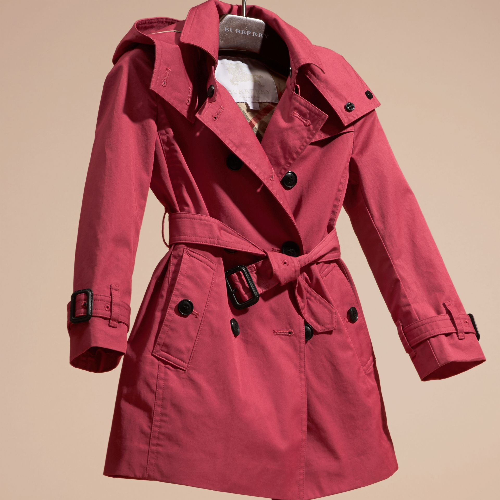 Peony rose Hooded Cotton Trench Coat Peony Rose - gallery image 3