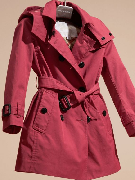 Peony rose Hooded Cotton Trench Coat - cell image 2