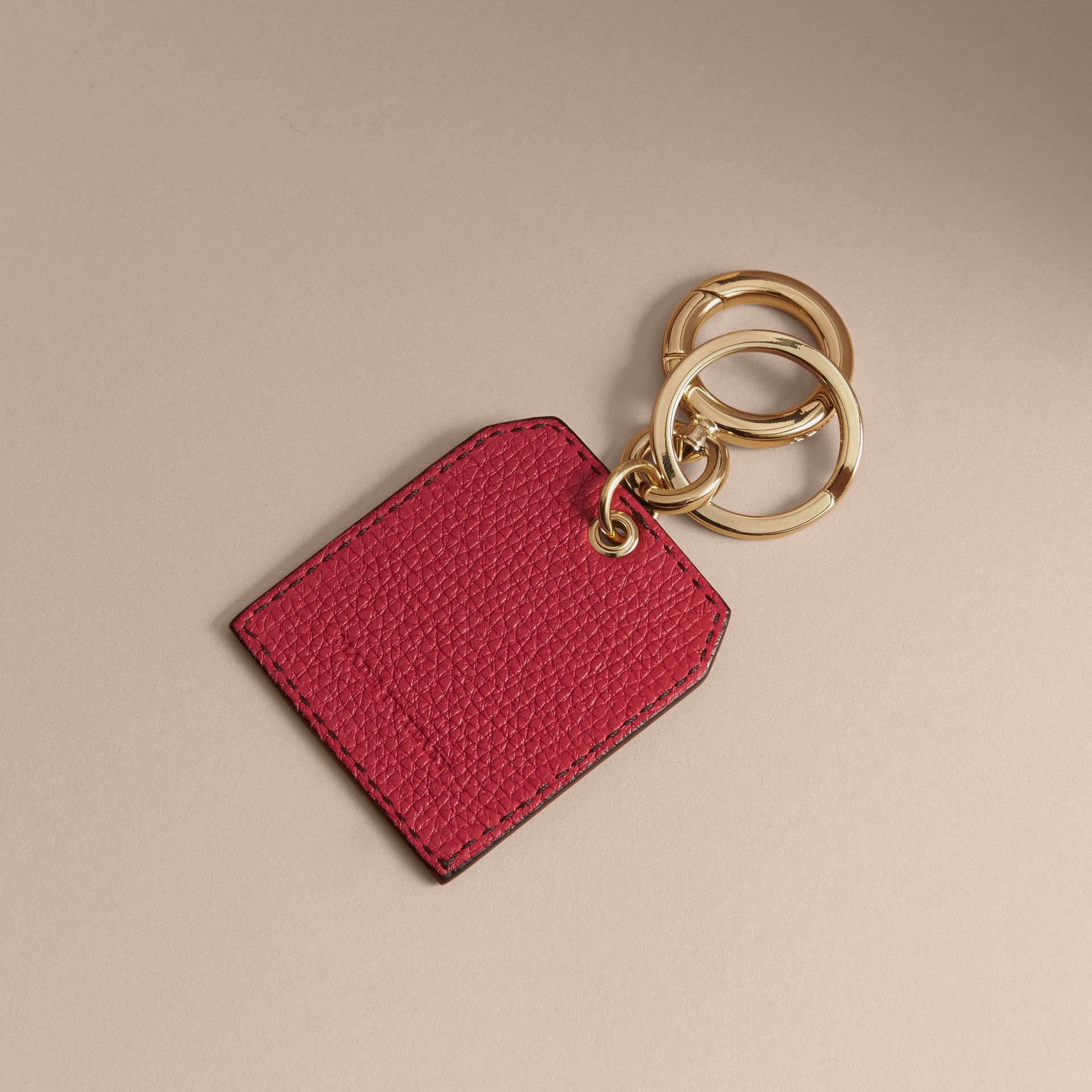 Leather Key Charm in Parade Red - Women | Burberry - gallery image 4