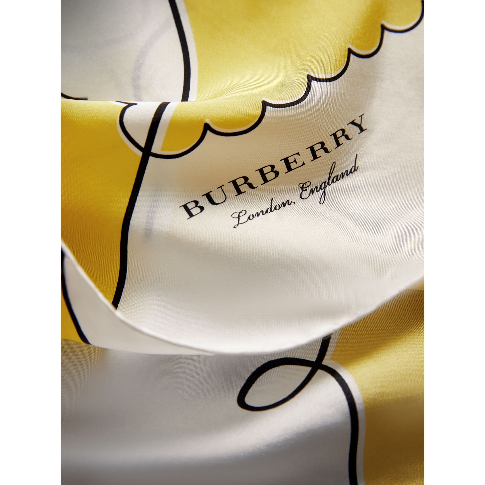 London Print Silk Square Scarf in Bright Yellow - Women | Burberry Canada - gallery image 1