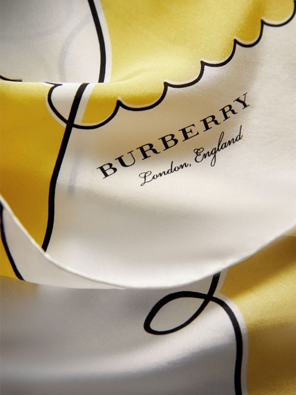London Print Silk Square Scarf in Bright Yellow - Women | Burberry - cell image 1