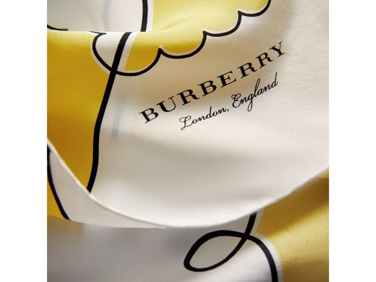 London Print Silk Square Scarf in Bright Yellow - Women | Burberry Canada - cell image 1