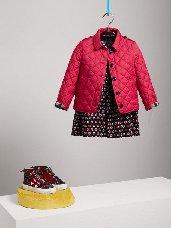 Check Lined Diamond Quilted Jacket in Crimson Pink
