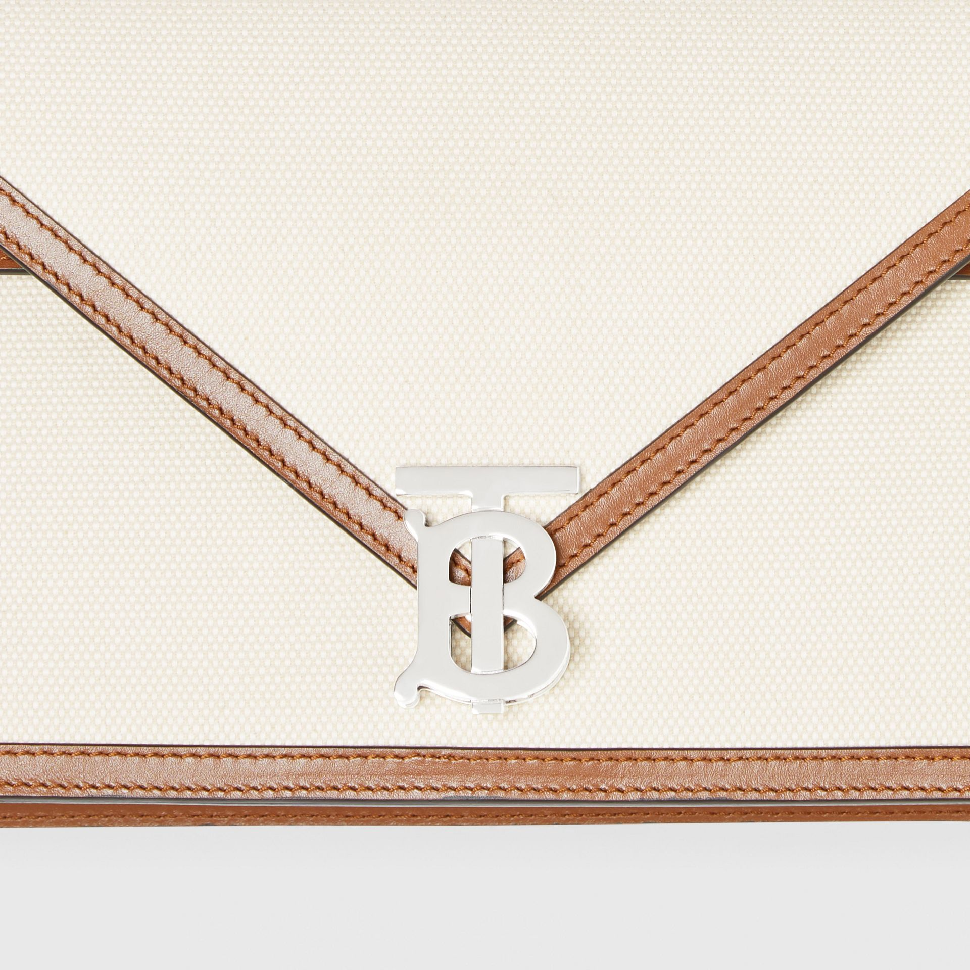 Small Canvas and Leather TB Envelope Clutch in Natural - Women | Burberry Canada - gallery image 1