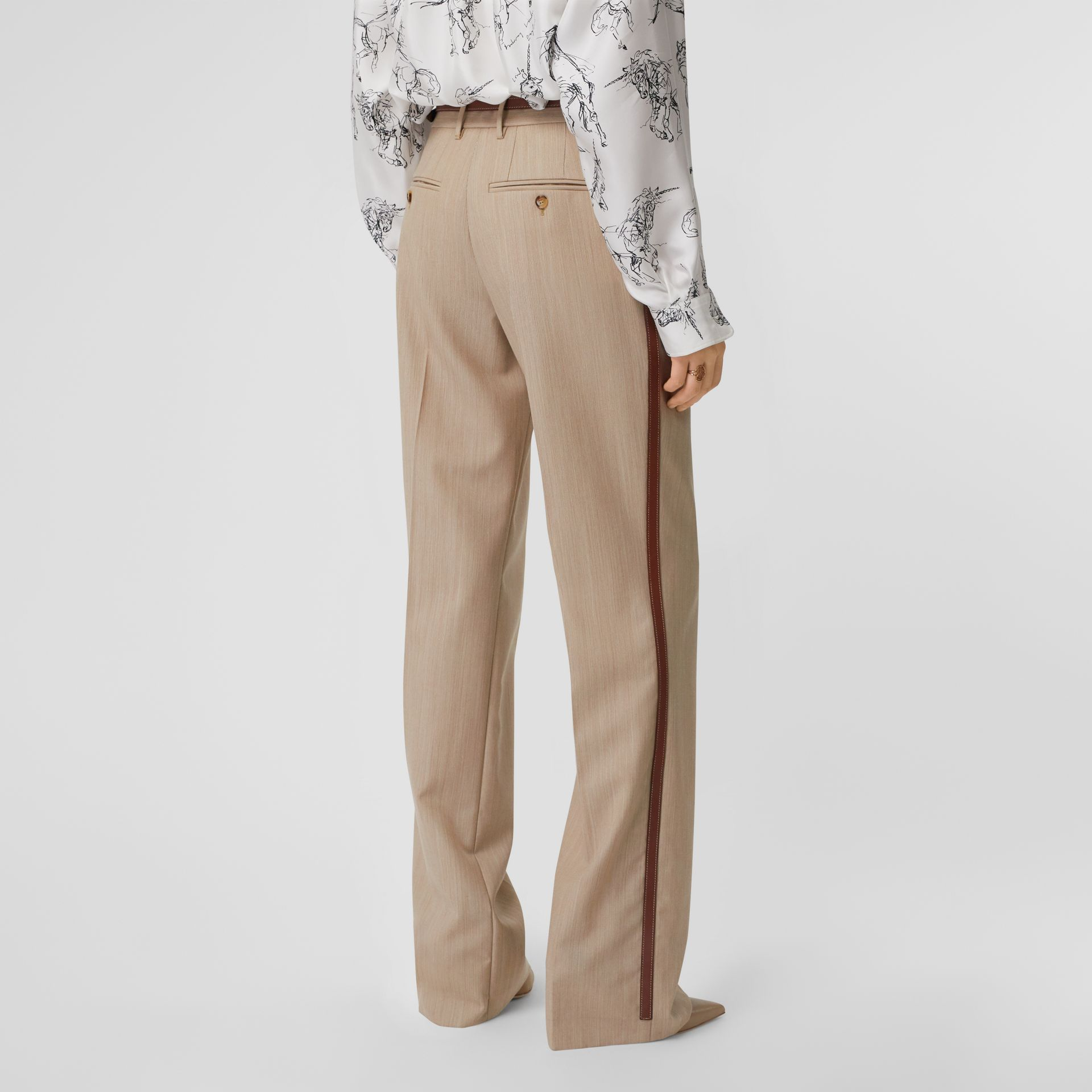 Leather Stripe Wool Tailored Trousers in Camel Melange - Women | Burberry - gallery image 2
