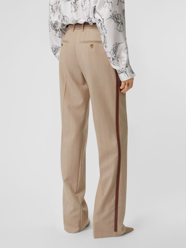 Leather Stripe Wool Tailored Trousers in Camel Melange - Women | Burberry - cell image 2