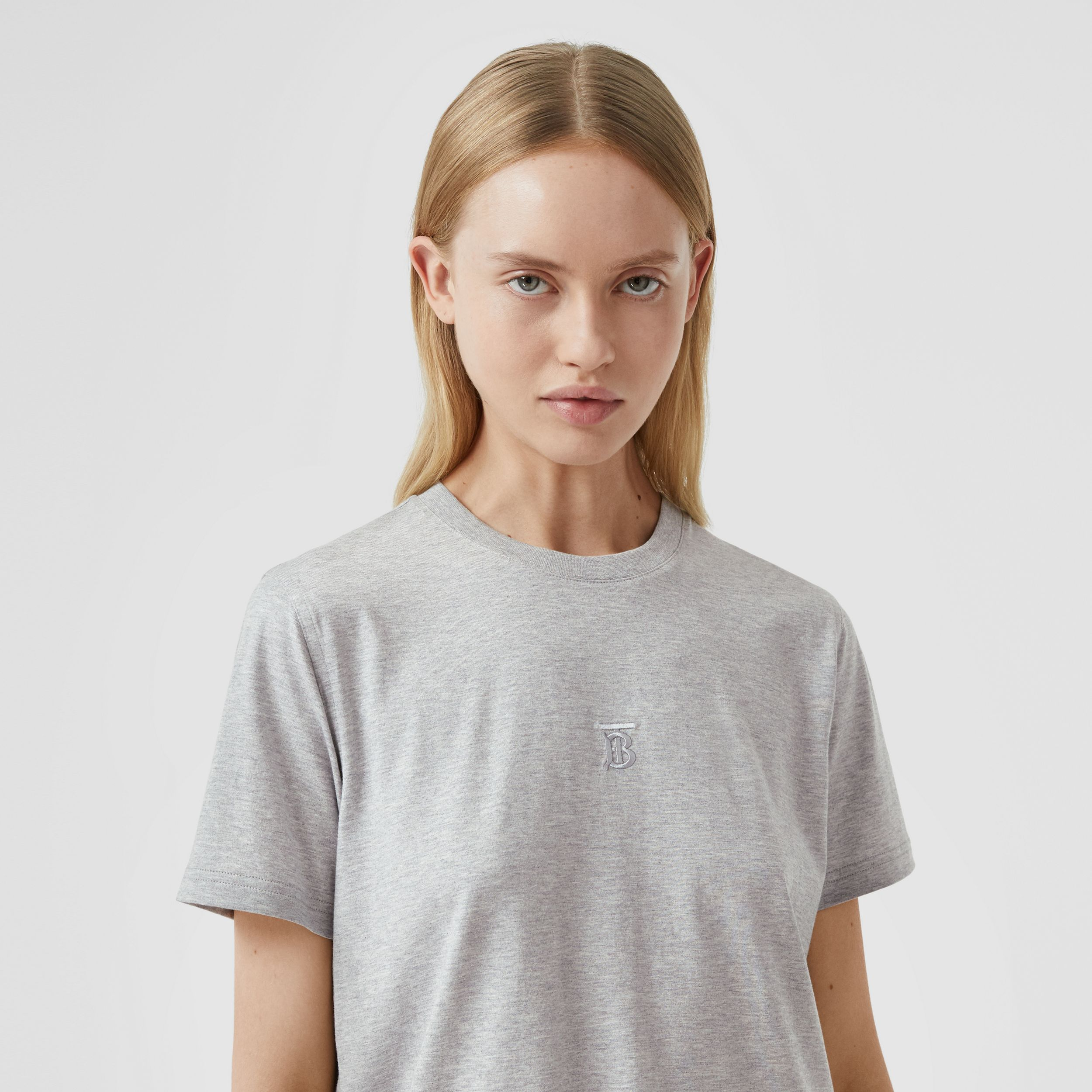 Monogram Motif Cotton T-shirt in Pale Grey Melange - Women | Burberry - 2