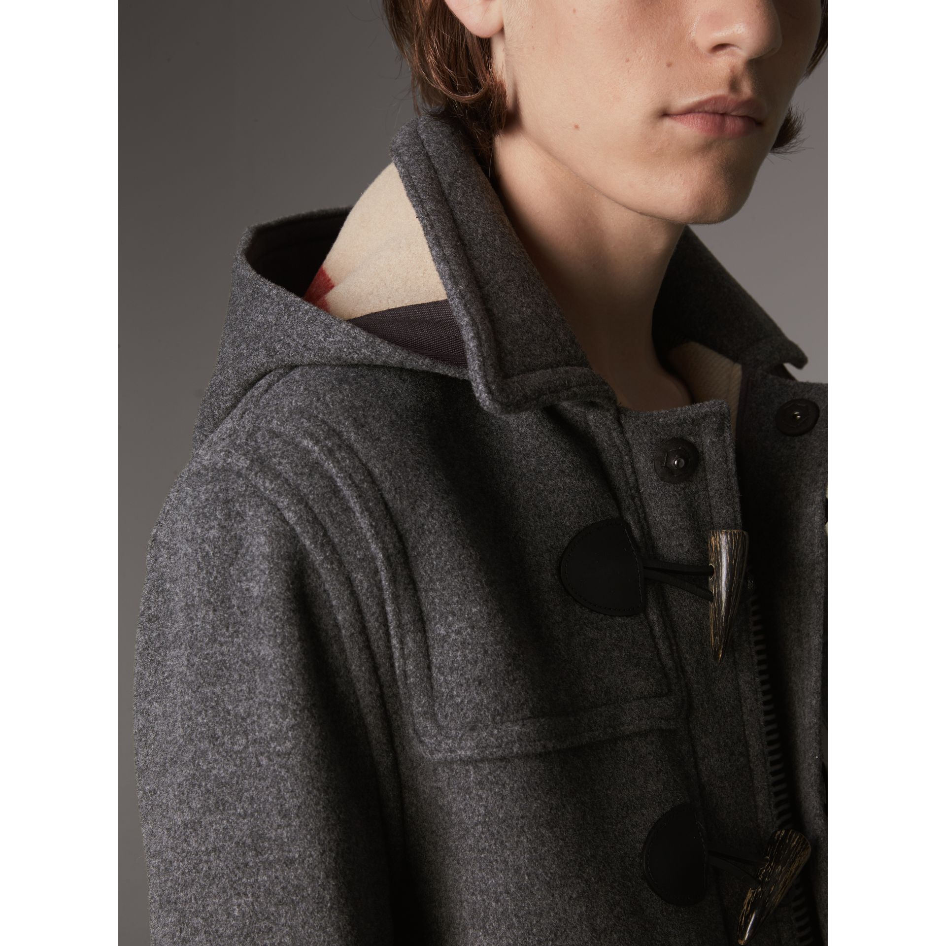 Wool Duffle Jacket with Detachable Hood in Mid Grey Melange - Men | Burberry - gallery image 2