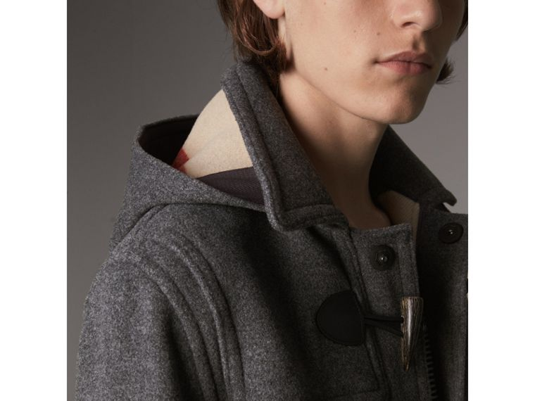 Wool Duffle Jacket with Detachable Hood in Mid Grey Melange - Men | Burberry - cell image 1