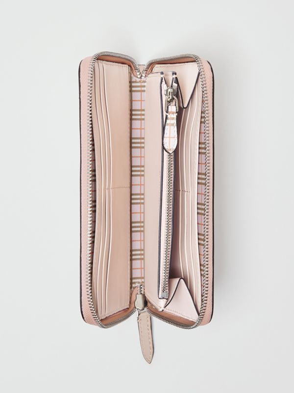 Small Scale Check and Leather Ziparound Wallet in Ice Pink - Women | Burberry Singapore - cell image 3
