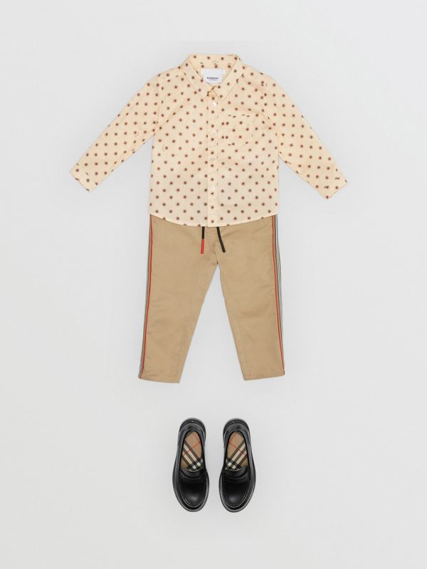 Star Print Cotton Shirt in Military Red - Children | Burberry - cell image 2