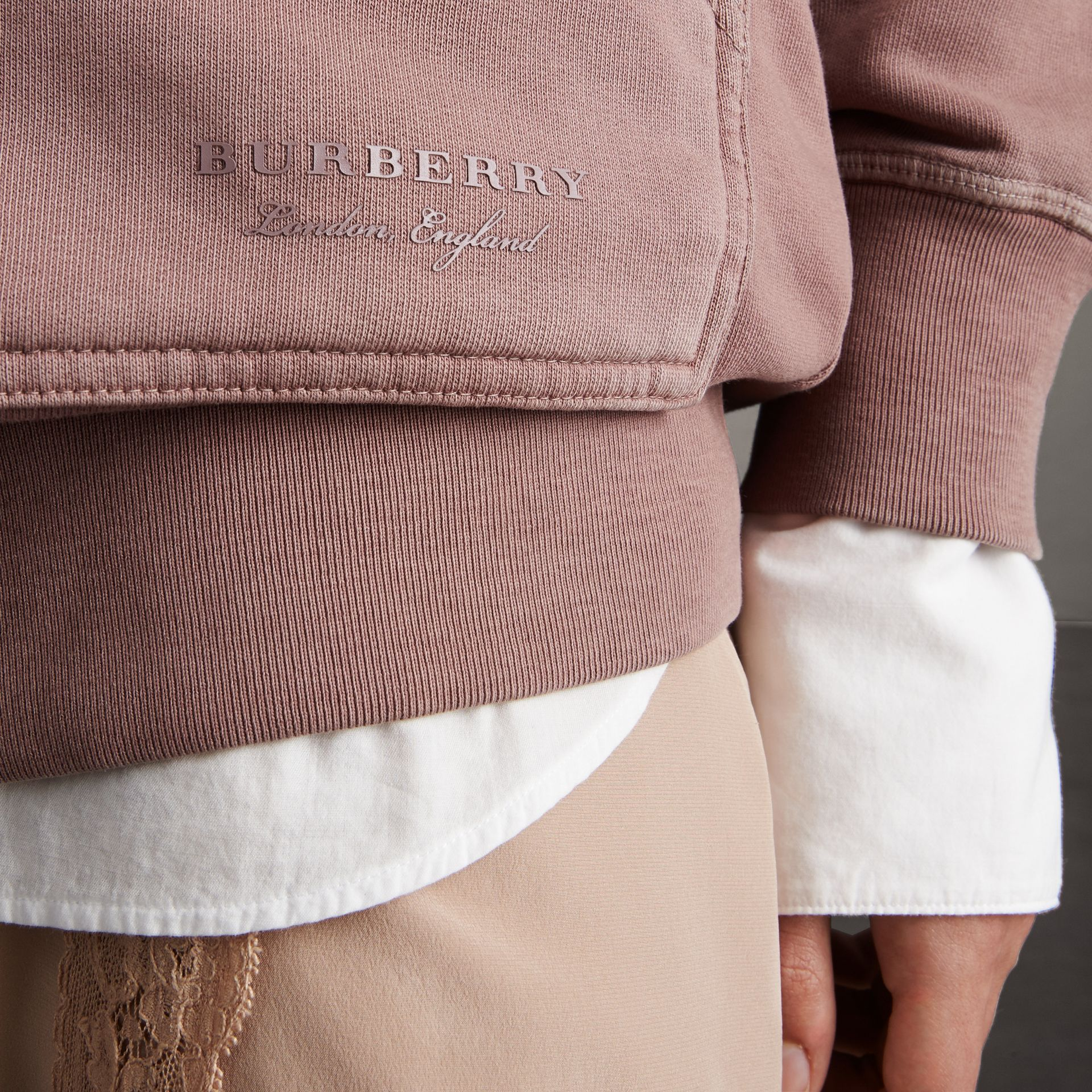 Unisex Pigment-dyed Cotton Oversize Sweatshirt in Dusty Mauve - Women | Burberry - gallery image 3