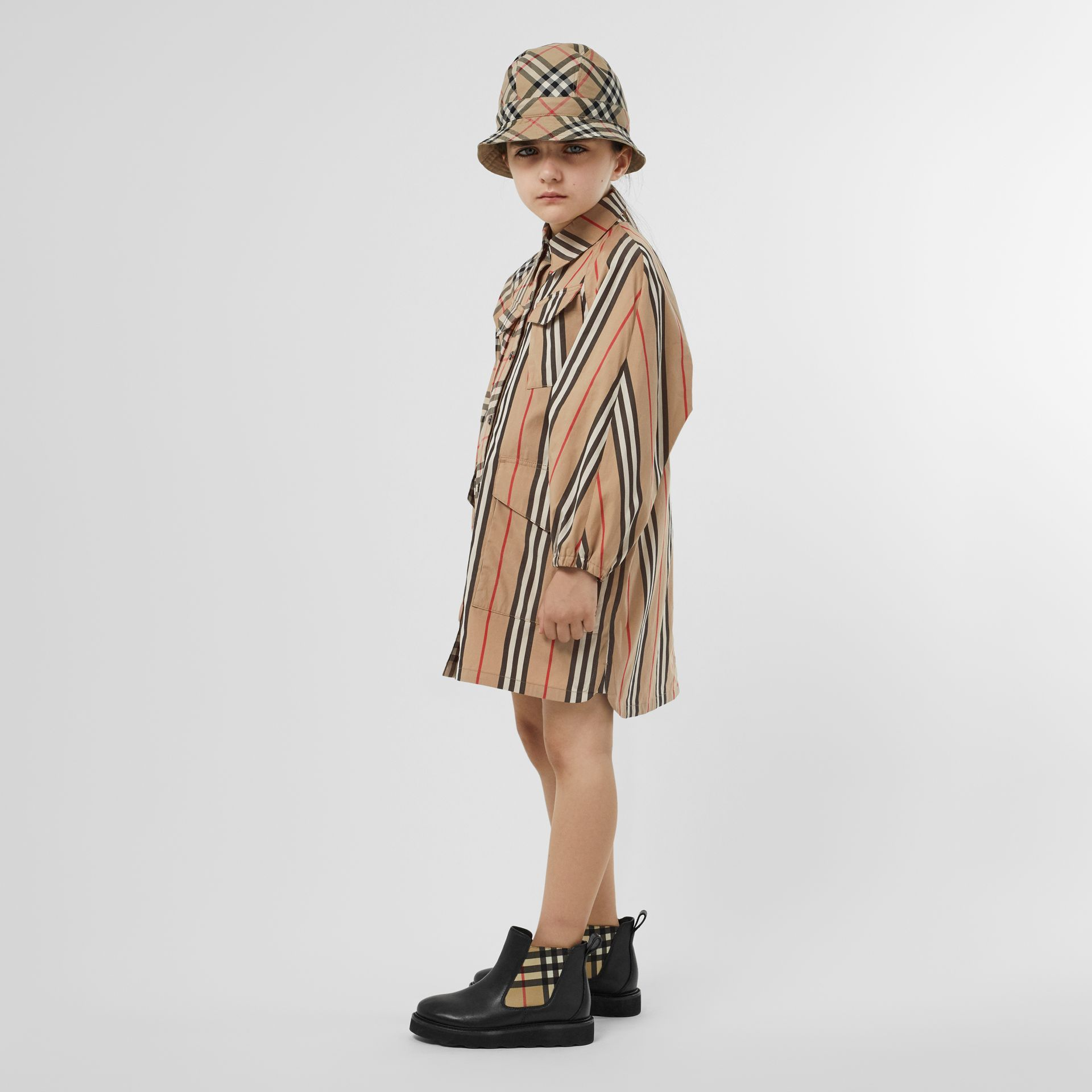 Vintage Check and Icon Stripe Cotton Shirt Dress in Archive Beige | Burberry United Kingdom - gallery image 2