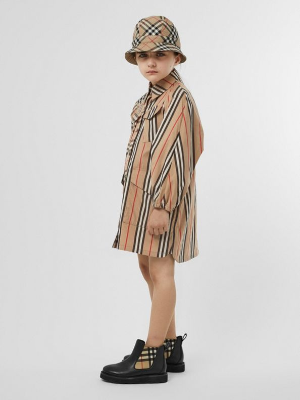 Vintage Check and Icon Stripe Cotton Shirt Dress in Archive Beige