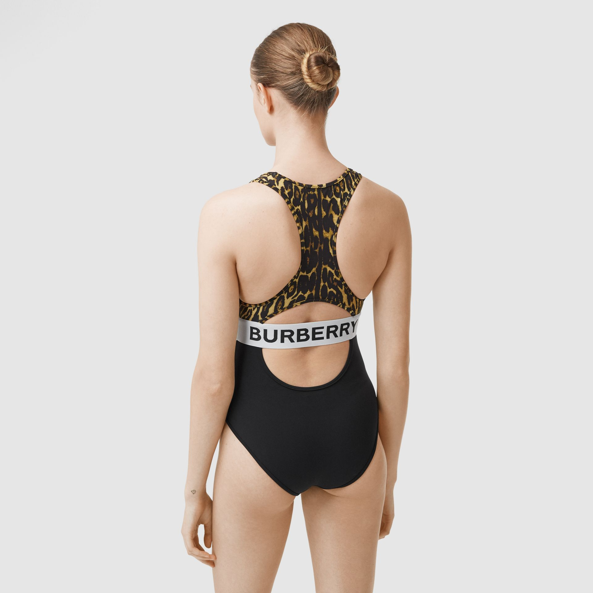 Logo and Leopard Print Swimsuit in Dark Mustard - Women | Burberry United Kingdom - gallery image 1