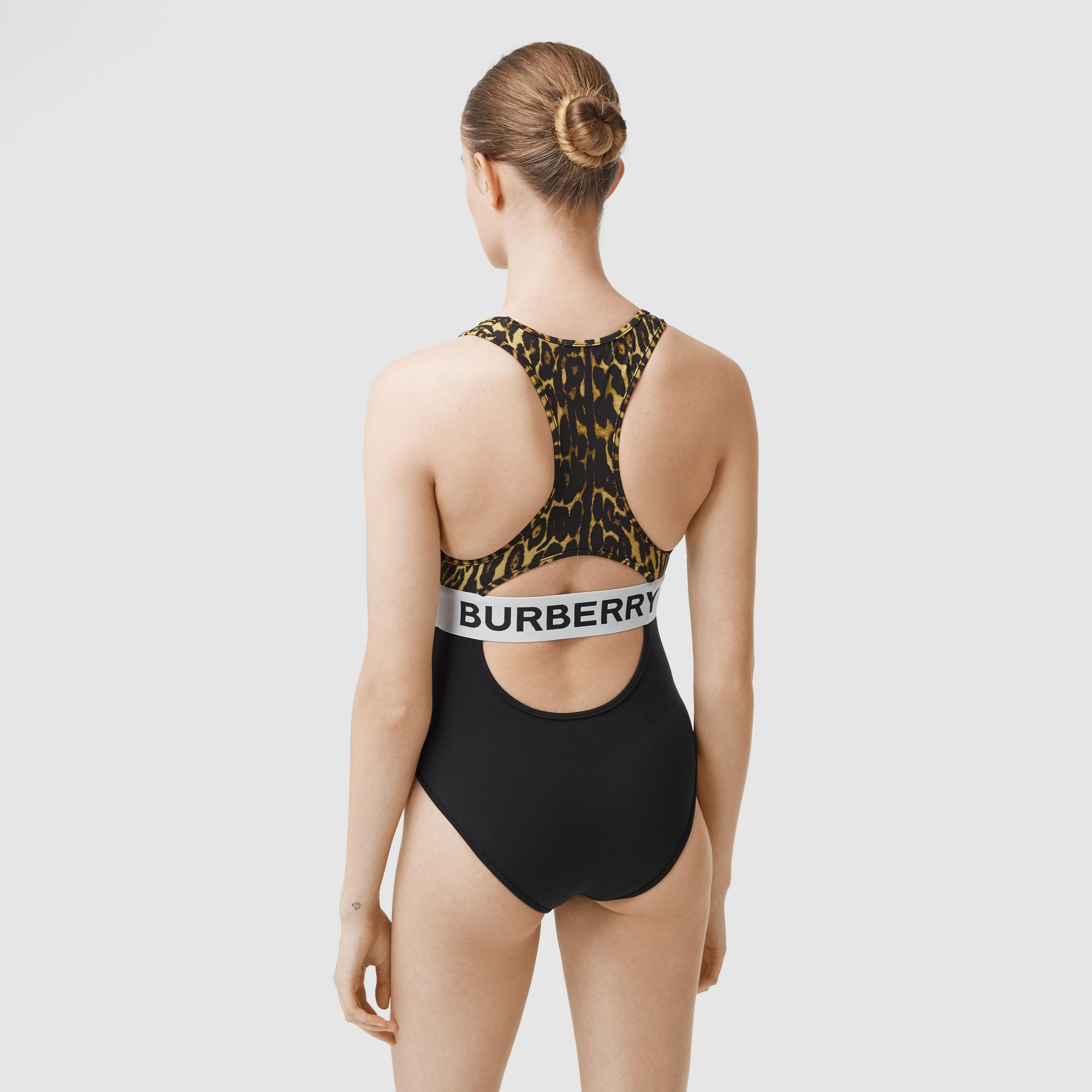 Logo and Leopard Print Swimsuit in Dark Mustard - Women | Burberry United States - 2
