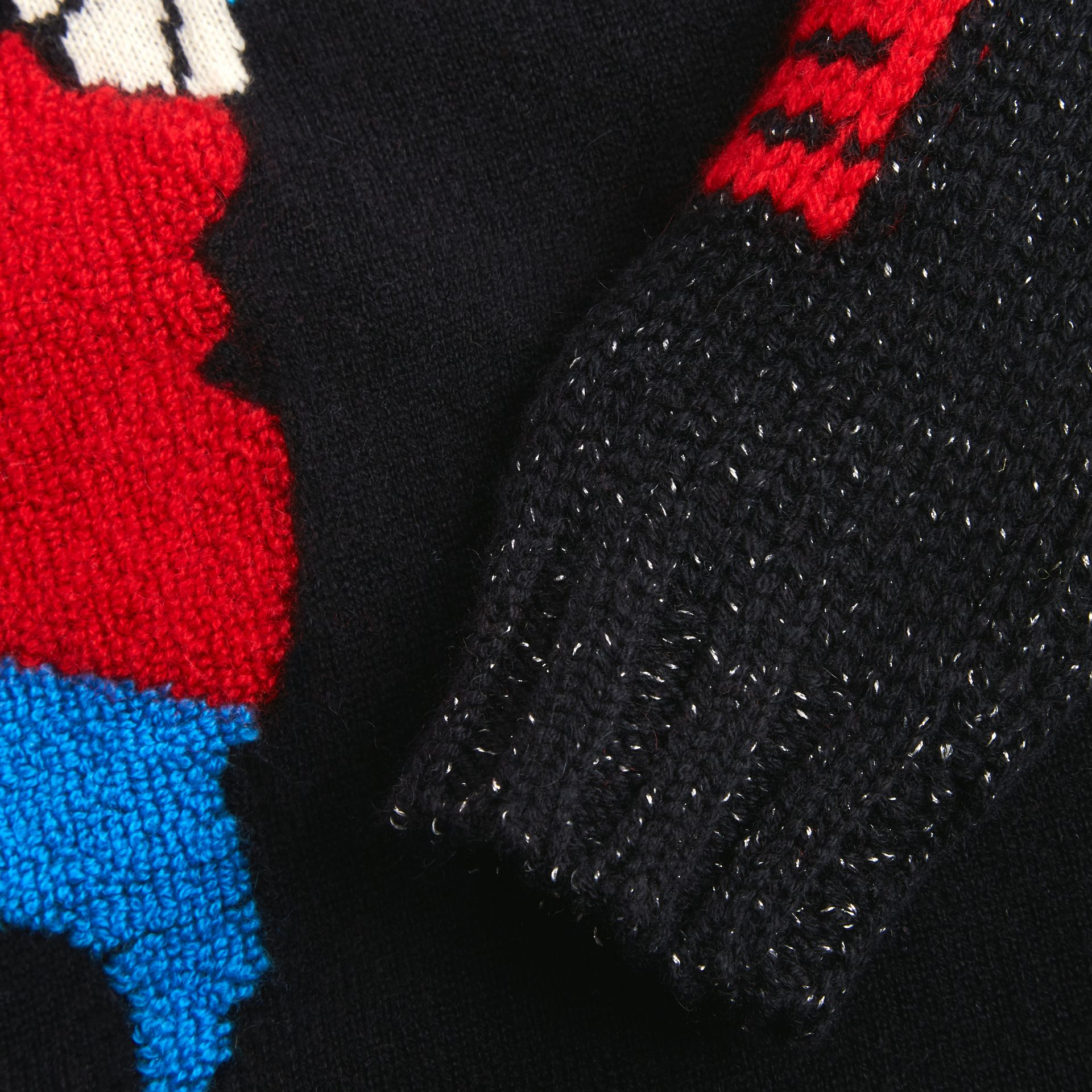Rocket Detail Intarsia Cashmere Blend Sweater in Black | Burberry Australia - gallery image 1
