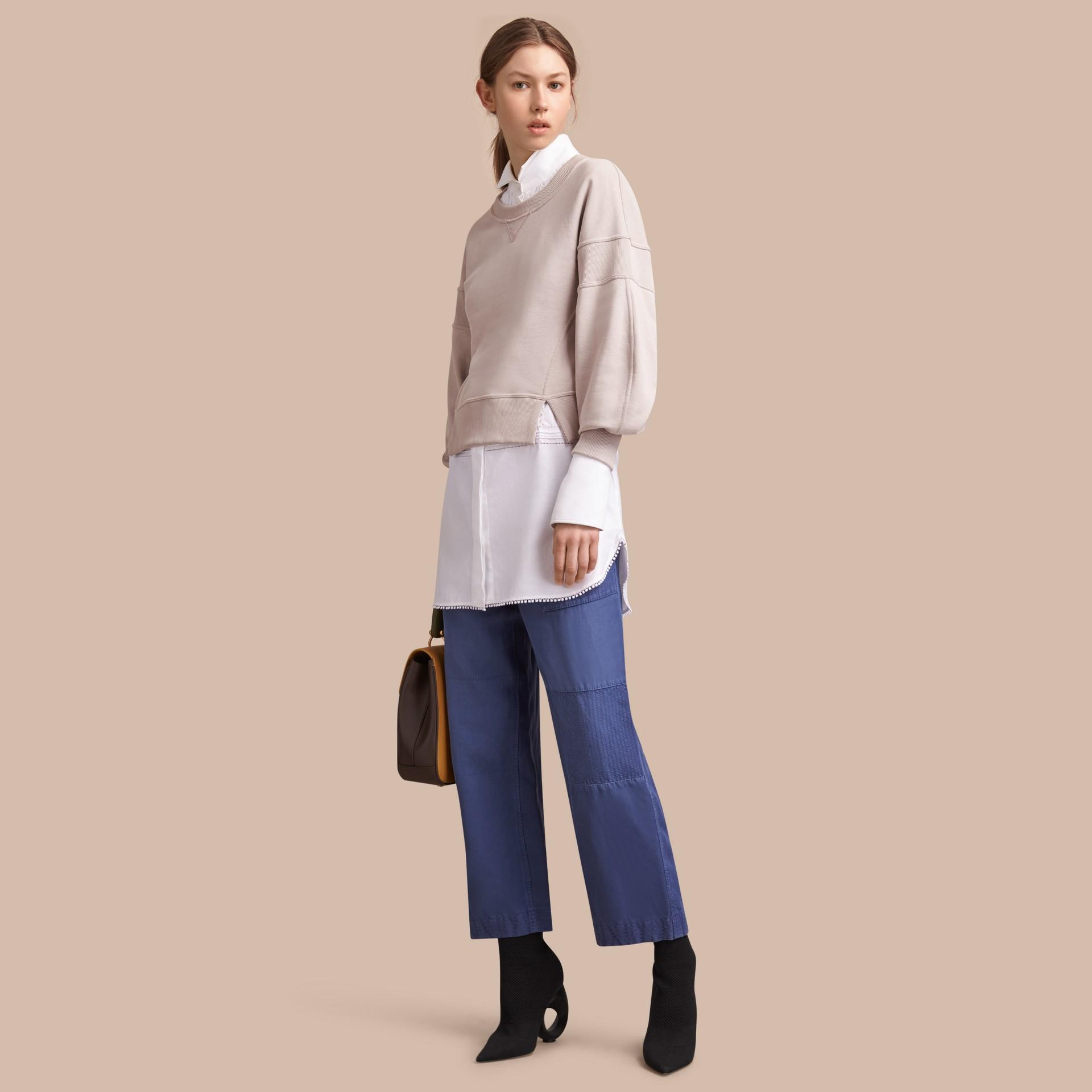 Puffed-sleeve Cotton Panelled Sweatshirt - gallery image 1