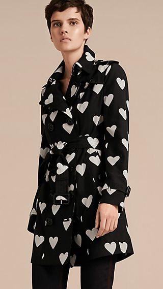 Lightweight Heart Print Silk Wool Trench Coat