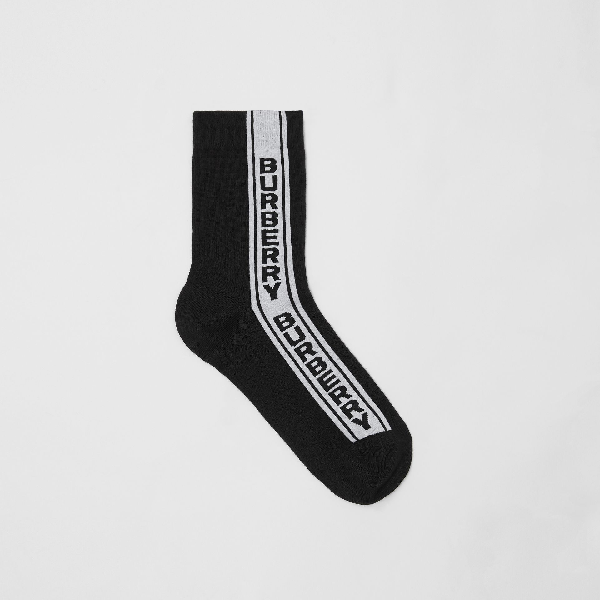 Logo Stripe Intarsia Cotton Blend Socks in Black | Burberry Hong Kong S.A.R - gallery image 0