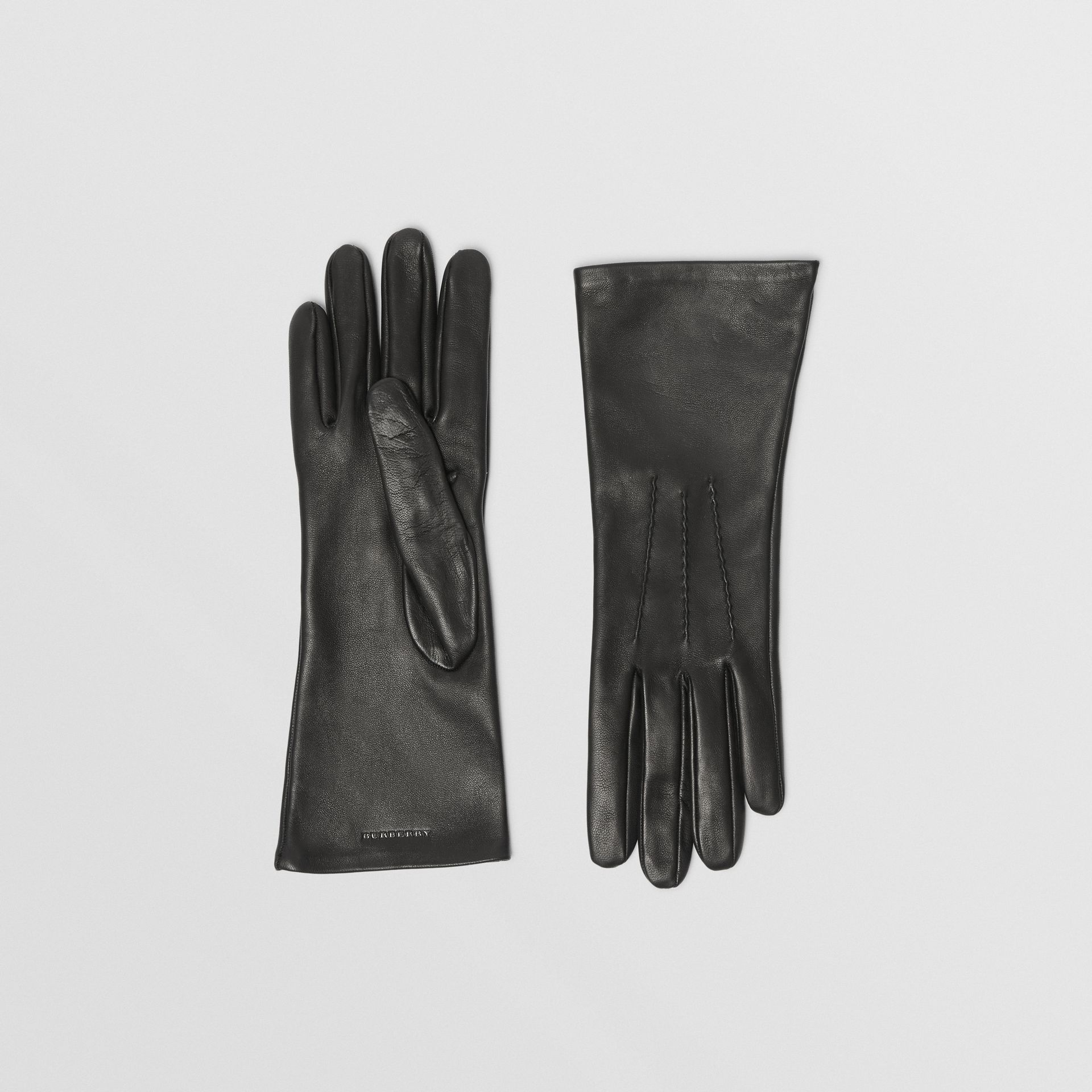 Silk-lined Lambskin Gloves in Black - Women | Burberry - gallery image 0