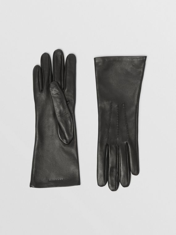 Silk-lined Lambskin Gloves in Black