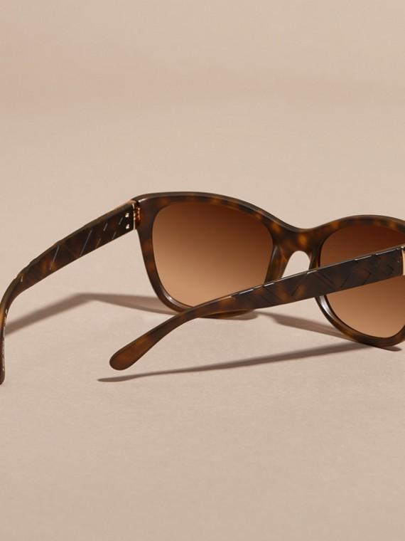 Tortoise shell 3D Check Square Frame Sunglasses Tortoise Shell - cell image 3